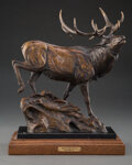 Sculpture, Kent Ullberg (American, b. 1945). Mountain Calls. Bronze with brown patina. 12 inches (30.5 cm) high on a 1-1/4 inch (3....