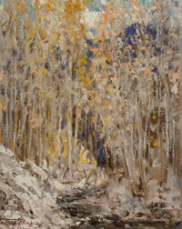 Fremont F. Ellis (American, 1897-1985) Grey and Gold Oil on canvasboard 14 x 11 inches (35.6 x 27.9 cm) Signed lower