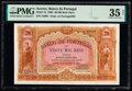 World Currency, Azores Banco de Portugal 20 Mil Reis Ouro 30.1.1905 Pick 13 PMG Choice Very Fine 35 Net.. ...