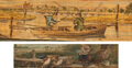 Books:Fore-edge Paintings, [Unknown]. Izaak Walton; Alfred Tennyson. Pair of Fishing Themed Fore-Edge Paintings: The Lives of Dr. John Donne...... (Total: 2 Items)