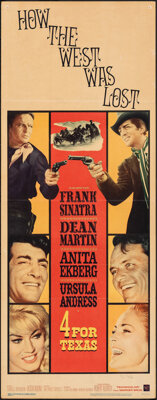 "4 for Texas (Warner Bros., 1963). Folded, Fine. Insert (14"" X 36""). Western"