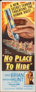 """Movie Posters:Thriller, No Place to Hide (Allied Artists, 1956). Folded, Very Fine-. Insert (14"""" X 36""""). Thriller.. ..."""