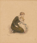 Books:Art & Architecture, Kate Greenaway. Original Watercolor Illustration of a Woman and Child. Signed with initials. 1900....