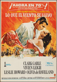 "Gone with the Wind (MGM, R-1970s). Folded, Fine+. Spanish One Sheet (27.5"" X 39.25""). Academy Award Winners..."