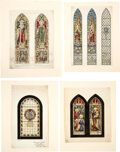Books:Original Art, Group of Four Stained Glass Window Watercolor Designs. All circa 1890-1910....