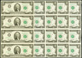 Small Size:Federal Reserve Notes, Fr. 1935-A*-D*; H* $2 1976 Federal Reserve Star Notes. Uncut Sheets of Four. Crisp Uncirculated.. ... (Total: 5 notes)