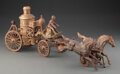Collectible, Vintage Cast Iron Pumper Fire Wagon with Horse Team Pull Toy. 22 x 8-1/2 x 5-1/4 inches (55.9 x 21.6 x 13.3 cm). ...