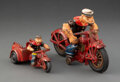 Collectible, Two Vintage Hubley Manufacturing Company Cast Iron Popeye Motorcycle Toys. Marks: (various). 8-1/2 x 4 x 5-5/8 i... (Total: 2 Items)
