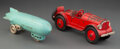 Collectible, Vintage Kenton Cast Iron Blimp Los Angeles Pull Toy and Coupe with Rumble Seat Car Toy. Marks: LOS... (Total: 2 Items)