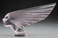 Glass, R. Lalique Frosted Amethyst-Tinted Glass Victoire Mascot with Grey Patina, circa 1928. Marks: R. LALIQUE, FRAN...