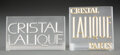 Glass, Two Lalique Frosted Glass Trade Signs, circa 1960. Marks: LALIQUE, PARIS, CRISTAL. 3-3/4 x 3-3/4 x 1-3/4 inches (9.5 x 9... (Total: 2 Items)