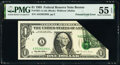 Error Notes:Foldovers, Printed Fold Error Fr. 1921-A $1 1995 Federal Reserve Note. PMG About Uncirculated 55 EPQ.. ...