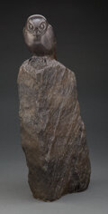 Sculpture, Steve Kestrel (American, b. 1947). Pgymy Owl on a Rock. Bronze with brown patina. 18 inches (45.7 cm) high. Inscribed an...