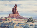 Paintings, James Erwin Boren (American, 1921-1990). Monument Valley, 1966. Watercolor on paper. 20-1/2 x 27 inches (52.1 x 68.6 cm)...