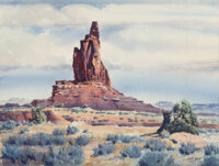 James Erwin Boren (American, 1921-1990) Monument Valley, 1966 Watercolor on paper 20-1/2 x 27 inches (52.1 x 68.6 cm)