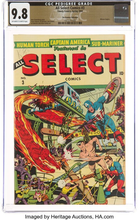 All Select Comics #3 The Promise Collection Pedigree (Timely, 1944) CGC NM/MT 9.8 Off-white to white pages....