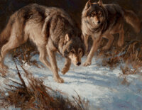 Greg Beecham (American, b. 1954) Hunting Buddies Oil on canvas laid on panel 9 x 12 inches (22.9 x 30.5 cm) Signed l