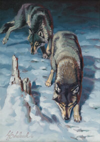 Guy Joseph Coheleach (American, b.1933) Sniffing Wolves Oil on board 12 x 9 inches (30.5 x 22.9 c