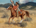 Paintings, Gary Lawrence Niblett (American, b. 1943). Young Brave. Oil on canvas. 9 x 12 inches (22.9 x 30.5 cm). Signed lower left...