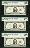 Small Size:Legal Tender Notes, Fr. 1514 $2 1963A Legal Tender Notes. Three Consecutive Examples. PMG Superb Gem Unc 67 EPQ.. ... (Total: 3 notes)