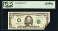 Error Notes:Foldovers, Printed Foldover Error Fr. 1980-I $5 1988A Federal Reserve Note. PCGS Very Fine 35PPQ.. ...