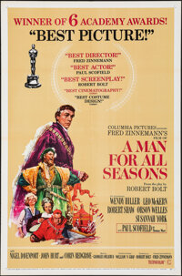 "A Man For All Seasons (Columbia, 1967). Folded, Very Fine. One Sheet (27"" X 41"") Academy Awards Style, Howard..."