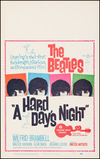 """A Hard Day's Night (United Artists, 1964). Very Fine+ on Linen. Window Card (14"""" X 22.5""""). Rock and Roll"""