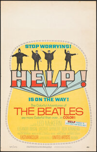 """Help! (United Artists, 1965). Rolled, Very Fine-. Window Card (14"""" X 22""""). Rock and Roll"""