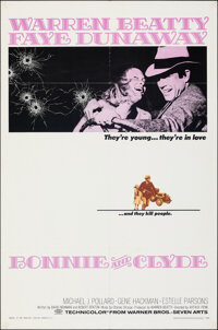 """Bonnie and Clyde (Warner Bros.-Seven Arts, 1967). Folded, Fine/Very Fine. One Sheet (27"""" X 41""""). Crime"""