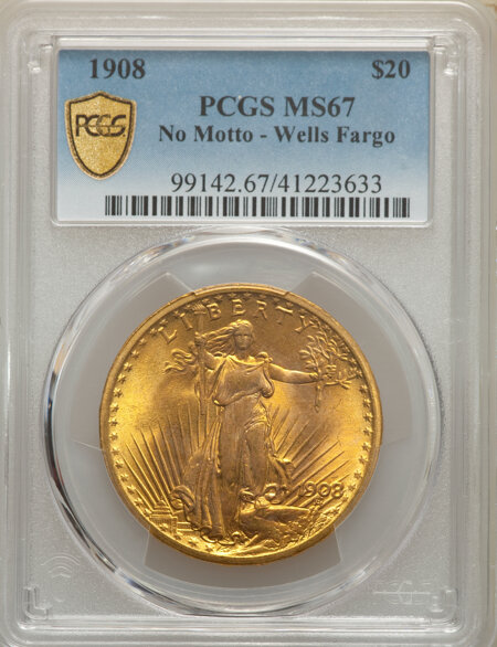 1908 NM $20 Wells Fargo PCGS Secure 67 PCGS