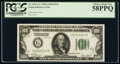 Small Size:Federal Reserve Notes, Fr. 2151-G $100 1928A Dark Green Seal Federal Reserve Note. PCGS Choice About New 58PPQ.. ...