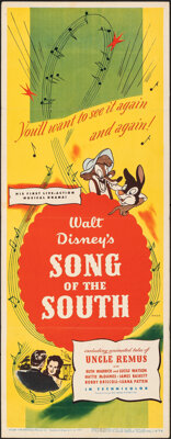 """Song of the South (RKO, 1946). Folded, Very Fine-. Insert (14"""" X 36""""). Animation"""