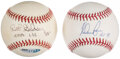 Autographs:Baseballs, Pitching Hall of Famers Signed Balls & Ticket, Lot of 3 - Ryan, Gibson, Eckersley. ... (Total: 3 items)