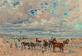 Paintings, André Hambourg (French, 1909-1999). Les petits chevaux, marée basse. Oil on canvas. 20 x 29 inches (50.8 x 73.7 cm). Sig...
