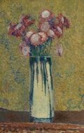 Paintings, Henri Jean Guillaume Martin (French, 1860-1943). Vase de fleurs. Oil on paper laid on canvas. 19-1/2 x 13 inches (49.5 x...