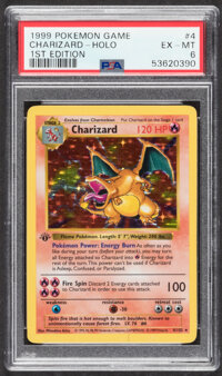 Pokémon Charizard #4 First Edition Base Set Trading Card (Wizards of the Coast, 1999) PSA EX-MT 6