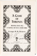 Books:Signed Editions, George R. R. Martin. A Game of Thrones. Book One of a Song of Ice and Fire. New York: Bantam Books, [1996]. Firs...