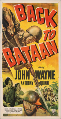 "Back to Bataan (RKO, 1945). Fine+ on Linen. Three Sheet (41"" X 81""). War"