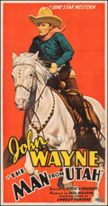 """Movie Posters:Western, The Man from Utah (Lone Star, 1934). Fine on Linen. Three Sheet (40.75"""" X 78""""). Western.. ..."""