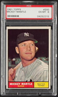Baseball Cards:Singles (1960-1969), 1961 Topps Mickey Mantle #300 PSA EX-MT 6. During ...