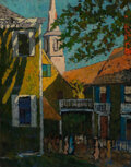 Paintings, 20th Century School . Bustling City Street. Oil on canvas. 25 x 32 inches (63.5 x 81.3 cm). Inscribed on the reverse: ...