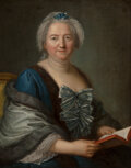 Paintings, French School (18th Century). Woman reading, possibly Marie Jeanne Baptiste of Savoy-Nemours. Oil on canvas. 32-1/2 x 25...