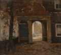 Paintings, Jan Harm Weyns (Dutch, 1864-1945). Autumn in the courtyard. Oil on panel. 8-1/8 x 9-3/8 inches (20.6 x 23.8 cm). Signed ...