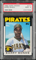 Baseball Cards:Singles (1970-Now), 1986 Topps Traded Barry Bonds #11T PSA Mint 9. Off...