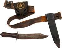 Texas Confederate Soldier: Bowie Knife, Cap Pouch and Snake Buckle Rig. ... (Total: 2)