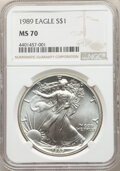 1989 $1 Silver Eagle MS70 NGC. NGC Census: (1277). PCGS Population: (68). CDN: $600 Whsle. Bid for NGC/PCGS MS70. Mintag...