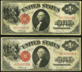 Fr. 37 $1 1917 Legal Tender Two Examples Very Fine