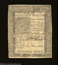 Colonial Notes:Delaware, Delaware January 1, 1776 18d Extremely Fine. A well ...