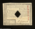 Colonial Notes:Massachusetts, Massachusetts May 5, 1780 $5 About Uncirculated, POC. A ...