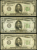 Small Size:Federal Reserve Notes, Fr. 1956-D* (2); K* $5 1934 Dark Green Seal Mule Federal Reserve Star Notes. Fine or Better... ... (Total: 3 notes)